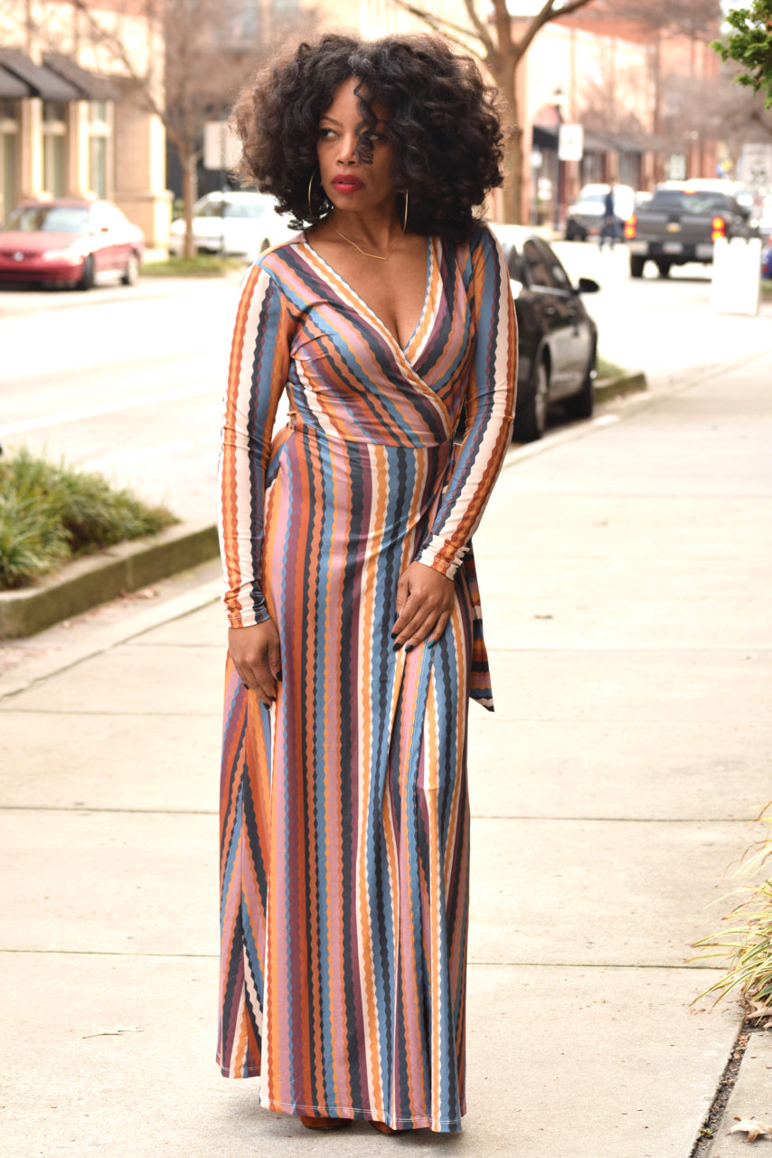 Wavy Stripe Wrap Dress