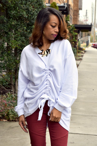 Drawstring Ruched Sweatshirt