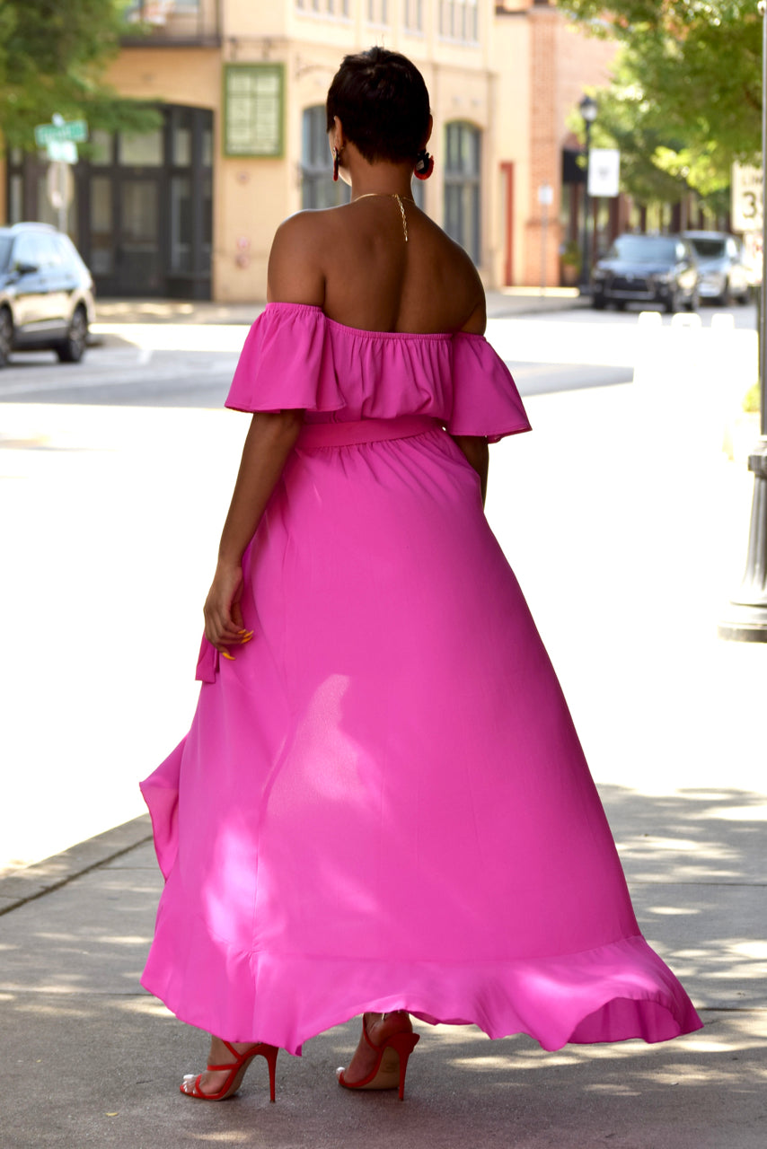 Pink Off the Shoulder Hi Low Hem Maxi