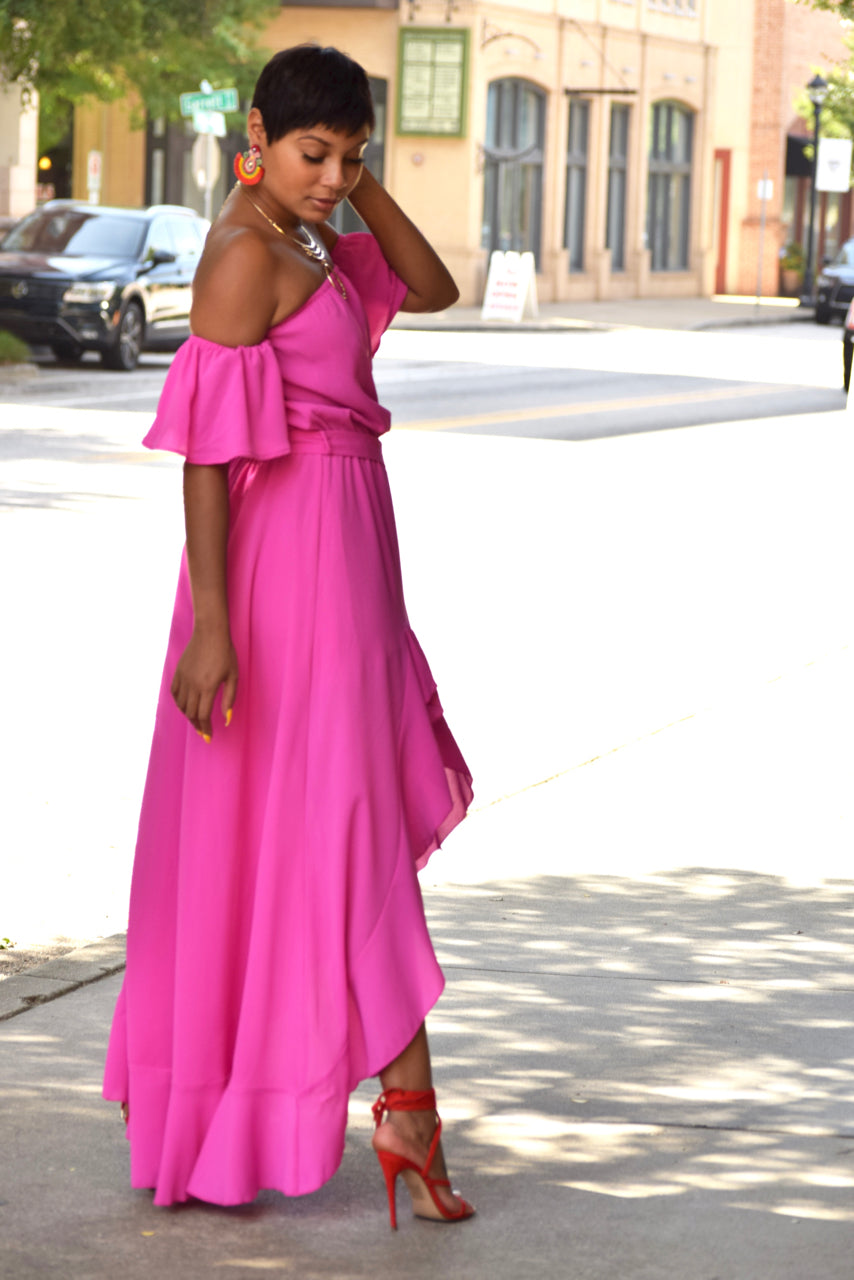 Fuchsia Off the Shoulder Asymmetrical Maxi
