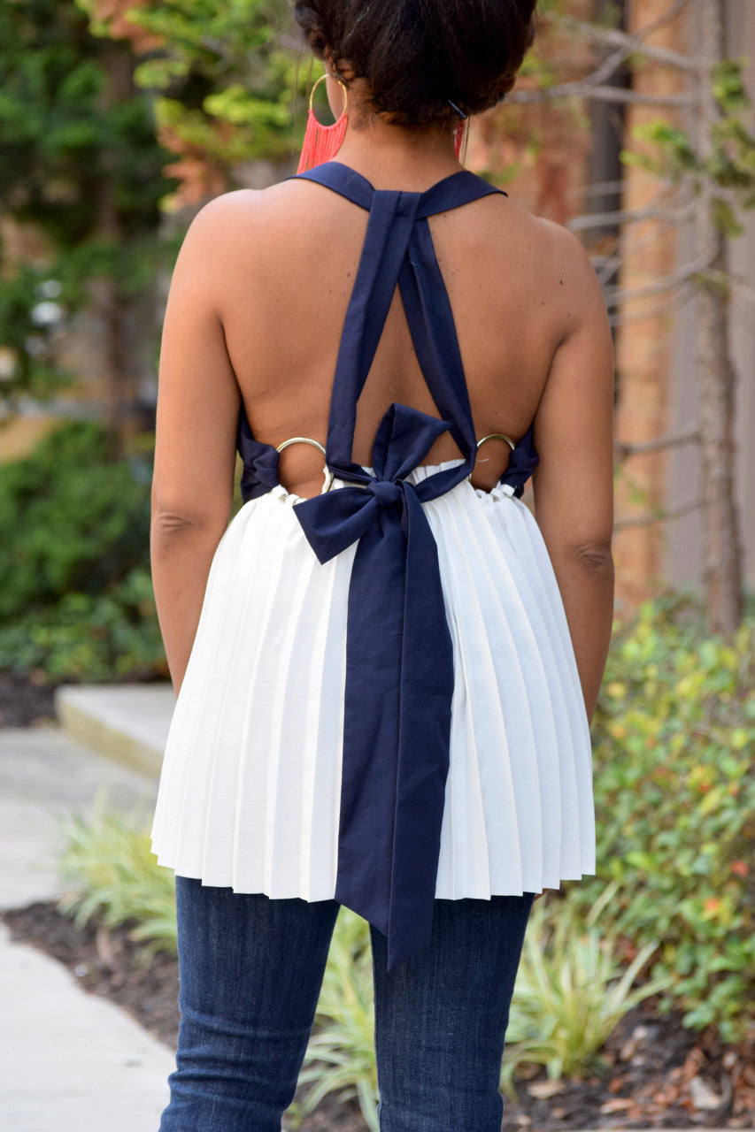 Pleated Ring Back Top
