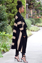 Wide Stripe Drape Cardigan