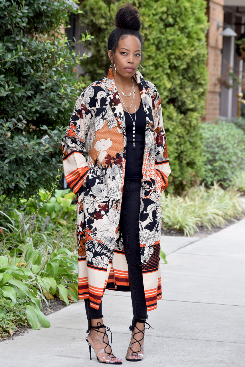 Floral Stripe Trench