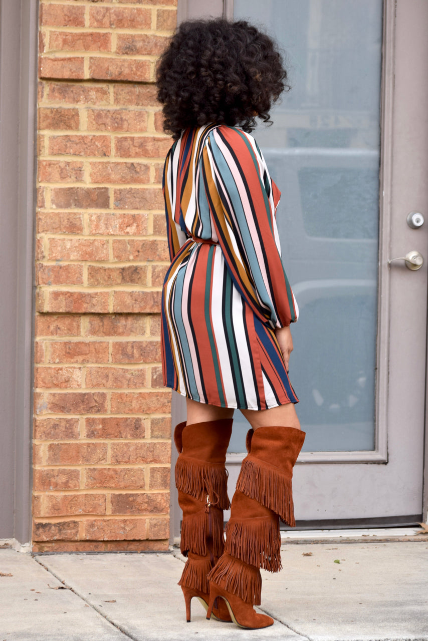 Stripe Bubble Sleeve Wrap Dress