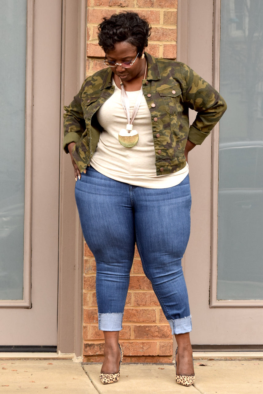 Curvy Camo Denim Jacket