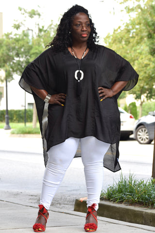 Curvy V-neck Kaftan Top