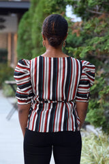 Stripe Puff Sleeve Wrap Top
