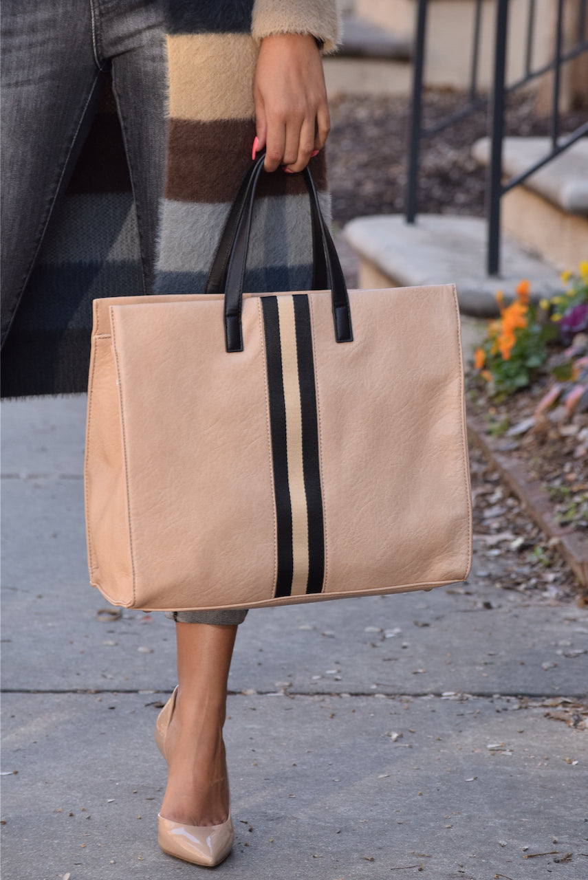 Racer Stripe Large Tote Nude