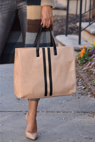 Racer Stripe Large Tote (Available in 2 Colors)
