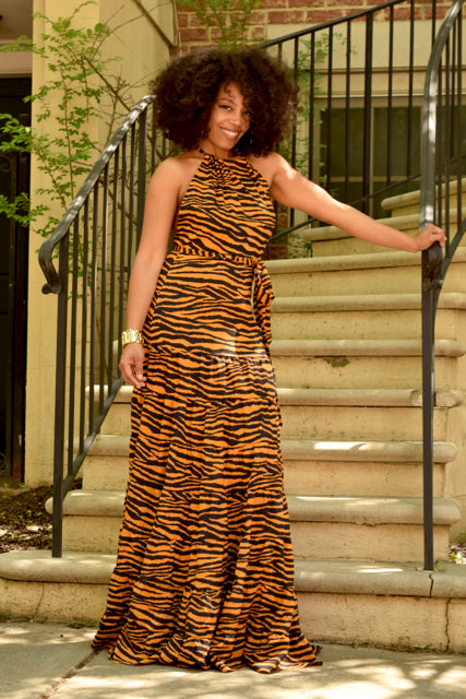 Tiger Halter Maxi Dress