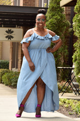 Curvy Denim Ruffle Wrap Dress