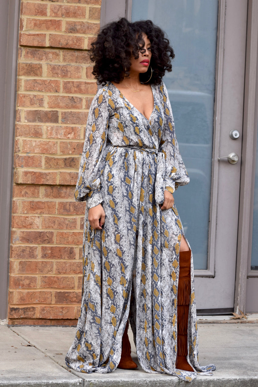 Python Wrap Maxi Dress