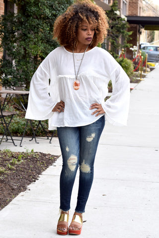 Bell Sleeve Gauze Top