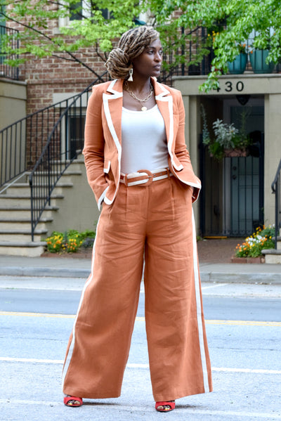 Contrast Piping Blazer/Wide Leg Pants Set