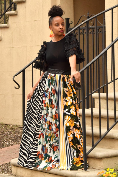 Zebra Mix Print Maxi Skirt