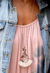 Mauve Marble Ring Tassel Necklace