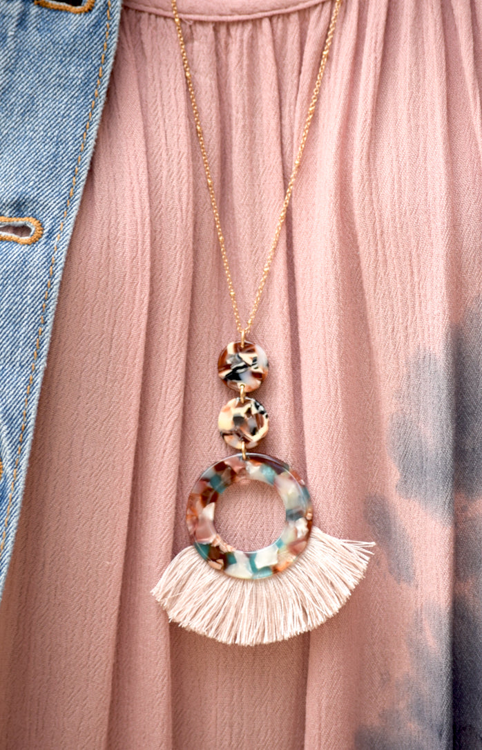 Marble Ring Tassel Gold Necklace