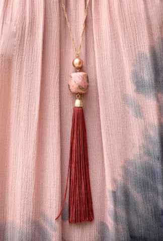 Gemstone Bead Tassel Necklace - Burgundy