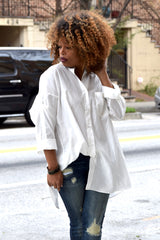 Boyfriend Slit Back Button Down