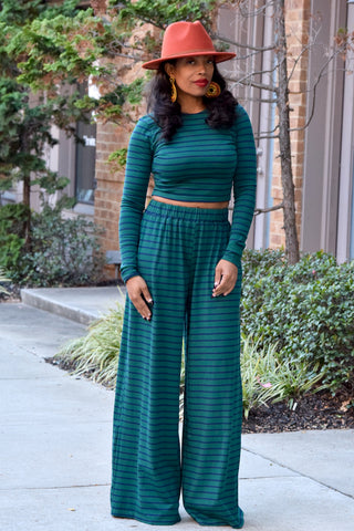 Stripe Crop Top and Wide Leg Set - 2 Colors Available
