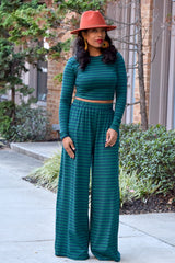 Stripe Crop Top and Wide Leg Set