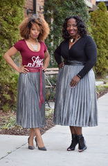 Curvy Pleat Metallic Skirt