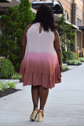 Curvy Ombre Keyhole Dress
