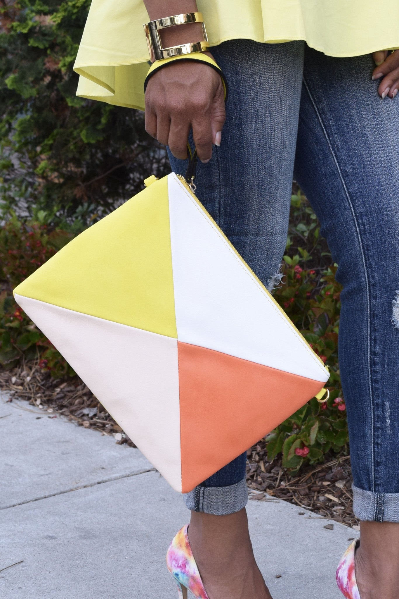 Diamond Colorblock Clutch