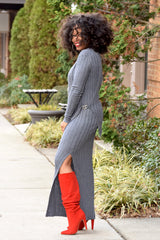 Ribbed Overlay Knit Dress -Grey