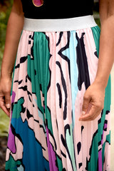 Abstract Pleat Midi Skirt (S-XL)