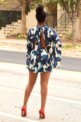 Blue Leaf Print Open Back Romper