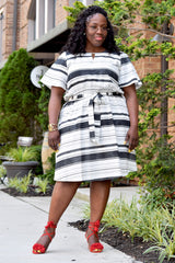 Curvy Keyhole Stripe Dress