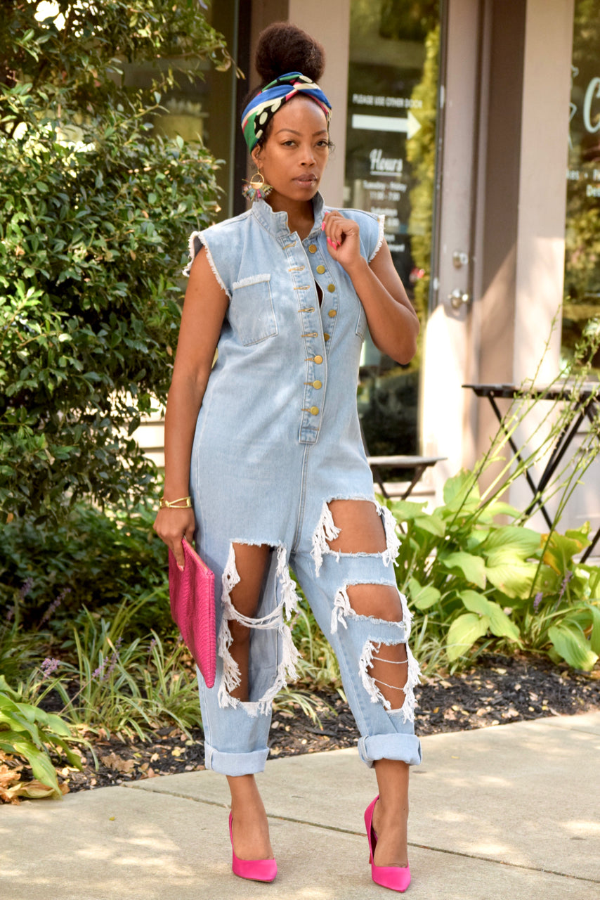Frayed Belted Denim Jumpsuit