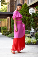 Colorblock Ruched Skirt Set
