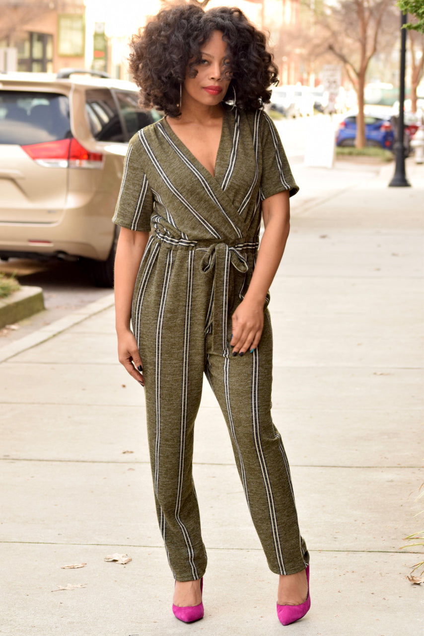 Stripe Knit Jumpsuit