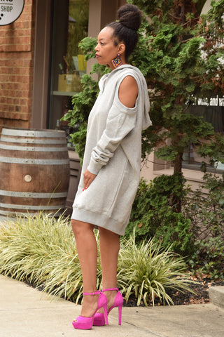 Cold Shoulder Hoodie Sweatdress