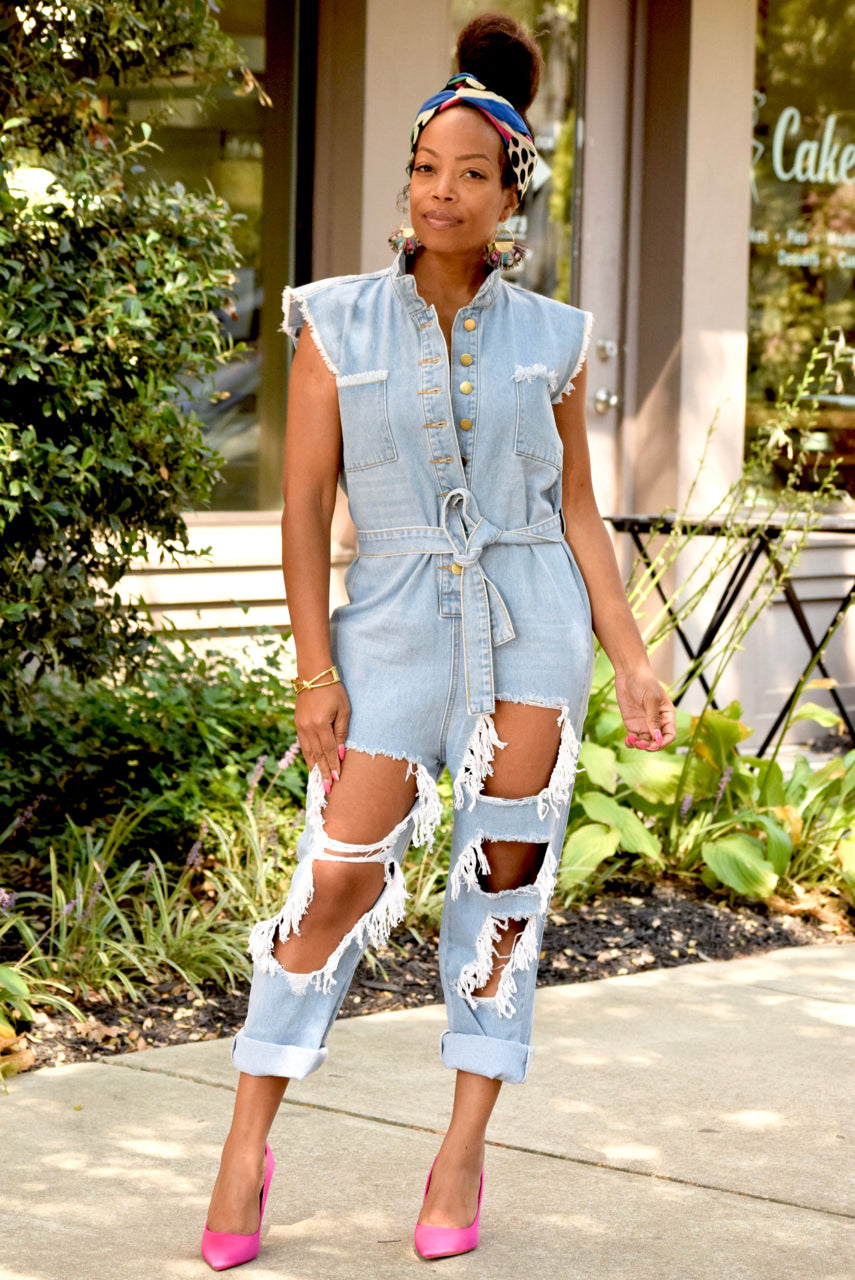 Distressed Belted Denim Jumper