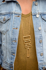 Gold Graduated Rectangle Pendant Necklace