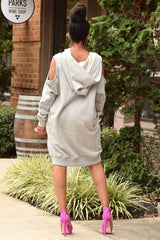 Cold Shoulder Hood Sweatdress