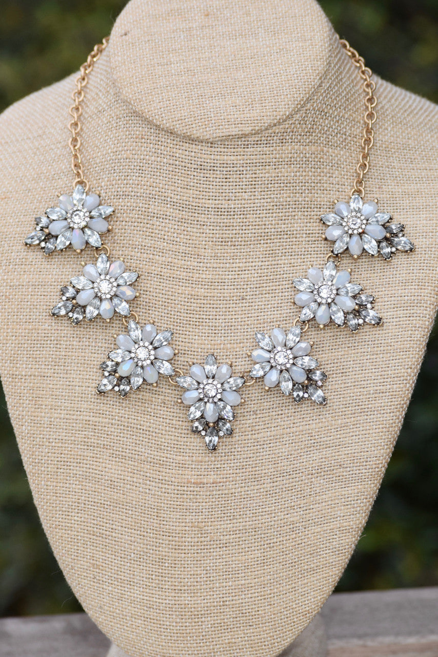 Stone Flower Bib Necklace