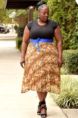 Curvy Python Pleat Skirt