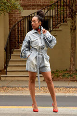 Puff Sleeve Boxy Denim Romper