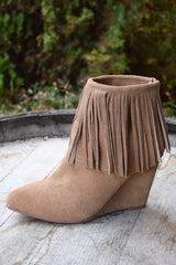 Chinese Laundry Arctic Fringe Bootie wheat color