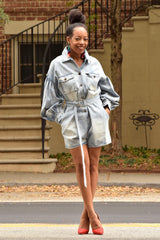 Light Wash Puff Sleeve Boxy Denim Romper