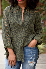 Grommet Leopard Button Down