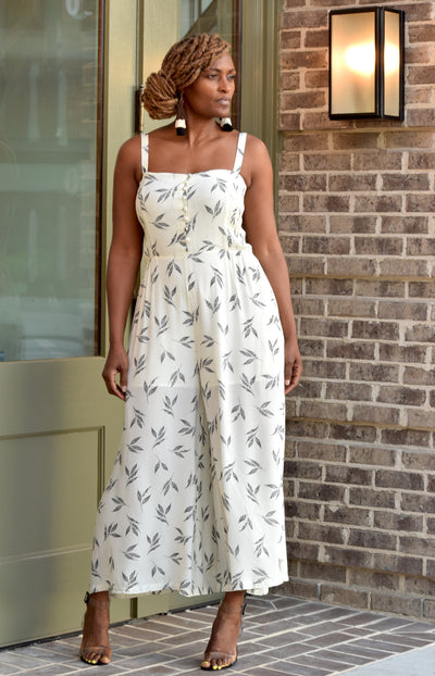 Leaf Smocked Wide Leg Jumpsuit