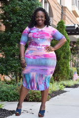 Curvy Watercolor Bodycon Dress