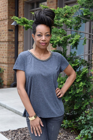 Stone Embellished Charcoal Tee Front