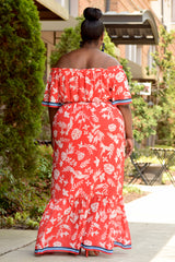 Curvy Tropical Off Shoulder Maxi