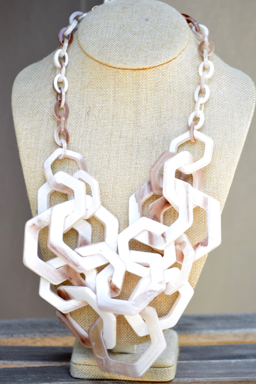 Marble Hexagon Link Necklace- White